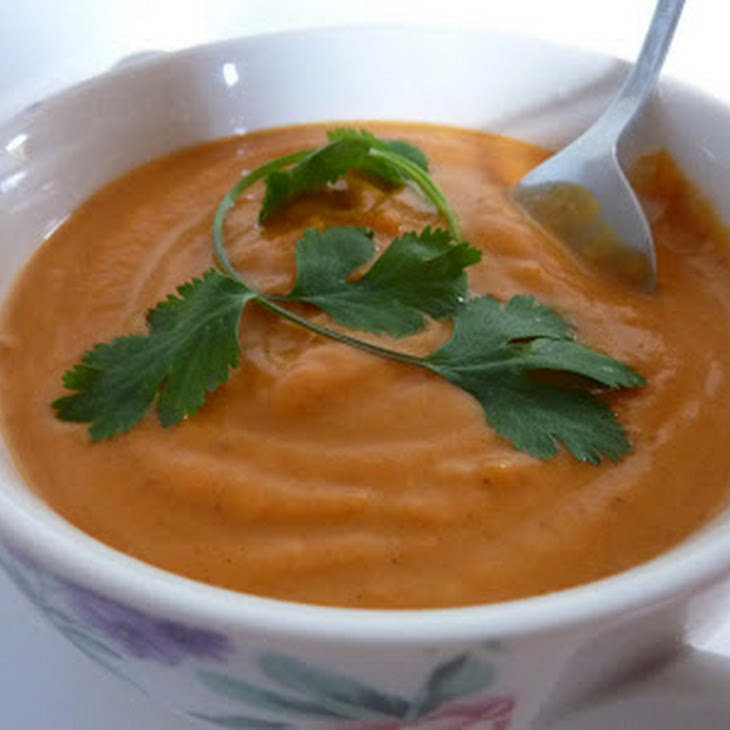 Cream of Sweet Potato Soup with Red Curry and Coconut Milk Recipe