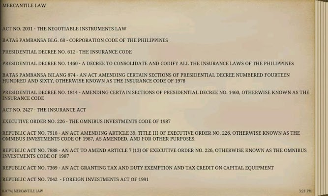 PHILIPPINE MERCANTILE LAWS - screenshot
