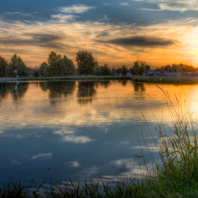 Pond Of Fire by Paul Cushing - Landscapes Waterscapes ( water, sky, park, sunset, pond )