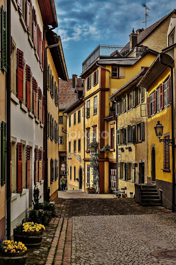 Altstadt! by Jesus Giraldo - Buildings & Architecture Homes ( old, hdr, colors, art, beautiful, street, homes, dog, walk, man, city )