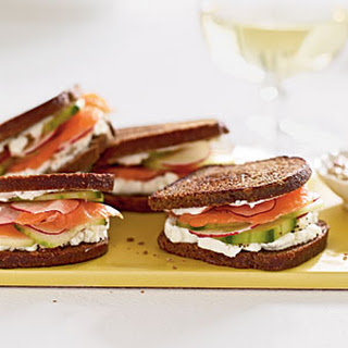 Smoked Salmon and Goat Cheese on Pumpernickel-Rye.