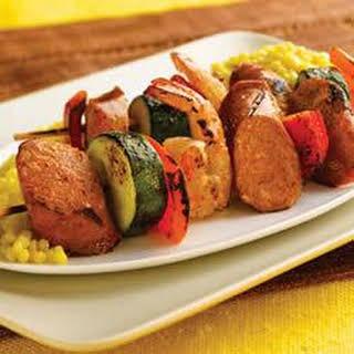 Grilled Chipotle Chorizo Chicken Sausage & Shrimp Kabobs.