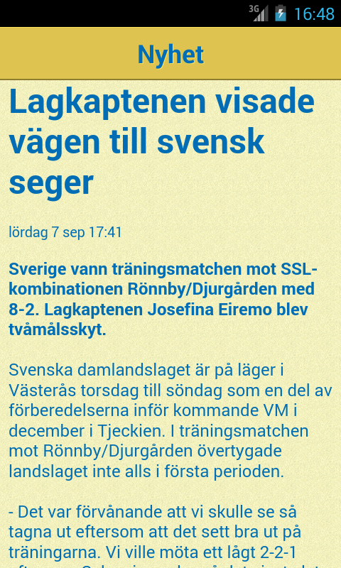 Svensk Innebandys offic. app- screenshot