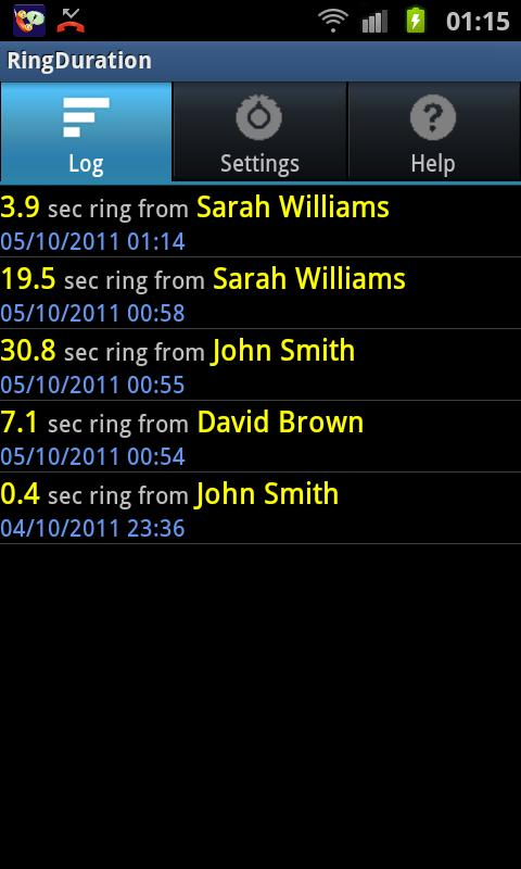 Ring Duration call timer - screenshot
