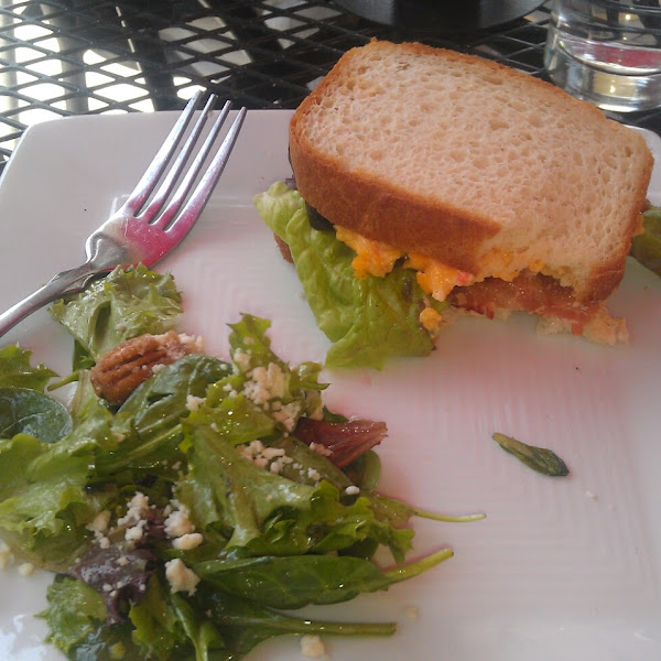 House salad and Bacon pimento cheese sandwich on GF bread.