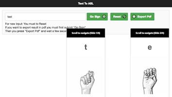 Screenshot of Text to Sign Language