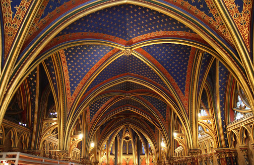 Sainte-Chapelle-lower-chapel-ceiling-Paris - Panoramic of the lower chapel ceiling of Sainte-Chapelle, or La Santa Capilla, in Paris.
