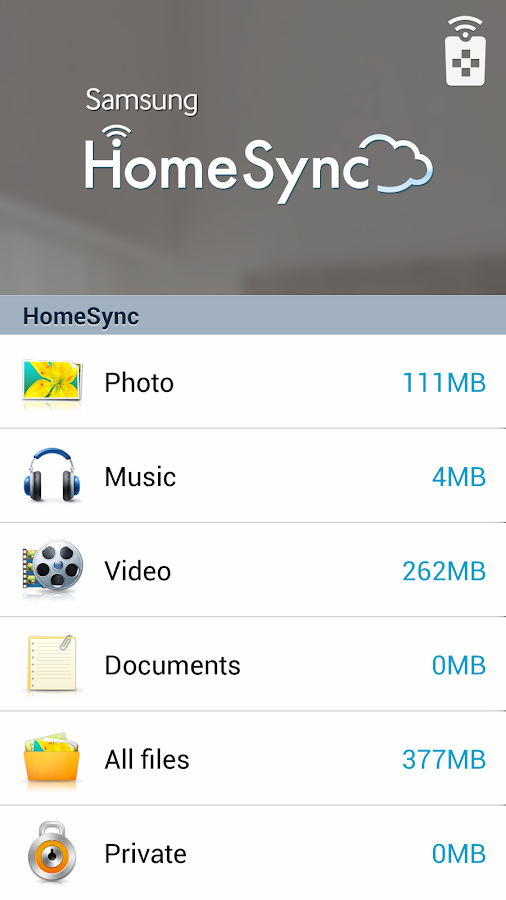 Samsung HomeSync- screenshot