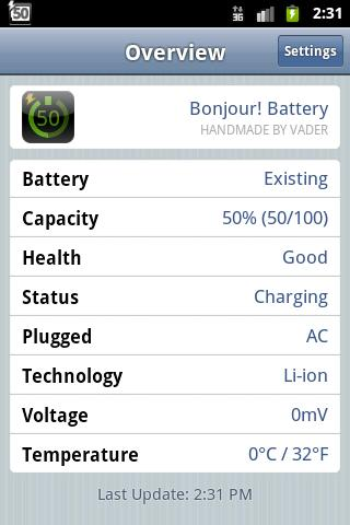 Bonjour! Battery (Lite)- screenshot