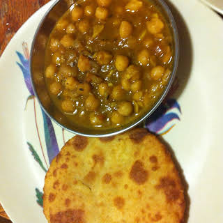 Chole Bhatura- Chickpeas or Garbanzo beans with fried bread.
