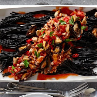 Black Pasta With Mussels.
