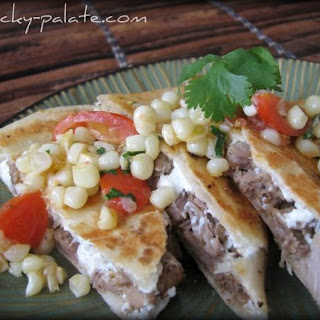 Steak and Goat Cheese Quesadillas With Corn and Tomato Relish.