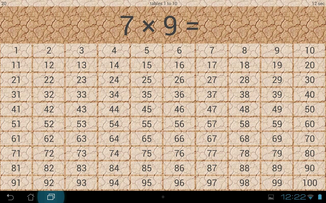 Times tables- screenshot