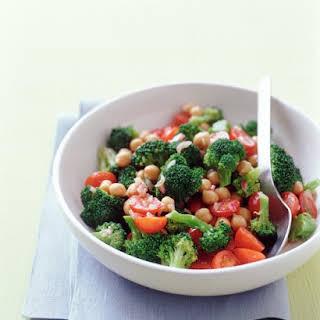 Broccoli, Chickpea, and Cherry Tomato Salad.