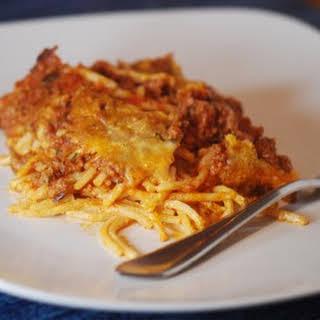 Baked Cream Cheese Spaghetti Casserole.