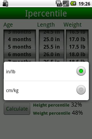 Percentile Growth Charts - screenshot