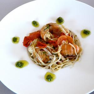Langoustine, Cherry Tomato, and Pesto Spaghetti