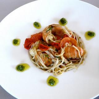 Langoustine, Cherry Tomato, and Pesto Spaghetti.