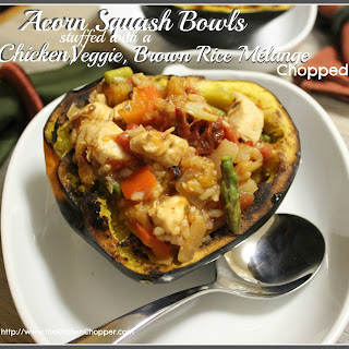 Acorn Squash Bowls stuffed with a Veggie, Brown Rice Mélange Chopped