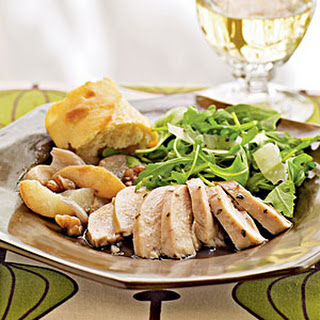 Roast Chicken with Pears, Shallots, and Walnuts.