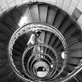 Spiral staircase by Dominic Jacob - Black & White Buildings & Architecture ( stairs, black and white, staircase, white, lighthouse, spiral, black,  )