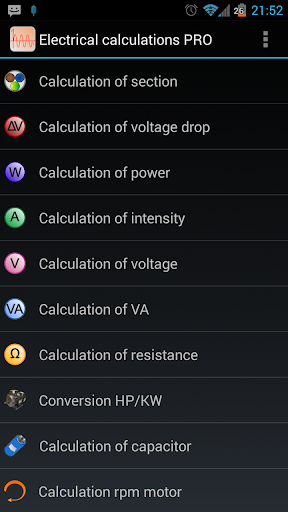 Electrical calculations PROKey