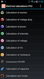 Electrical calculations PROKey v3.1.2