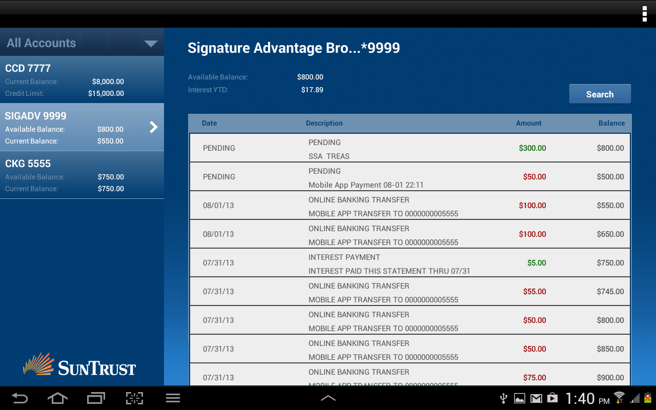 SunTrust Tablet App - screenshot