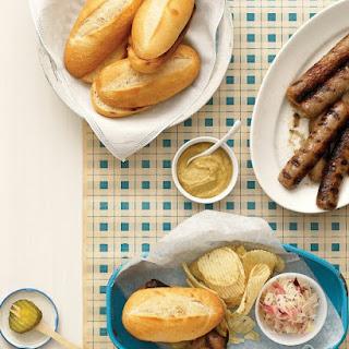 Midwestern Grilled Bratwurst Sandwiches with Caraway Sauerkraut.