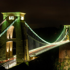 Clifton Suspension Bridge by Simon West - Buildings & Architecture Bridges & Suspended Structures ( structure, suspension, night, bridge, landscape, clifton, bristol )