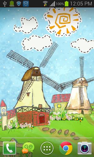 卡通手绘风车动态壁纸 FREE PRO