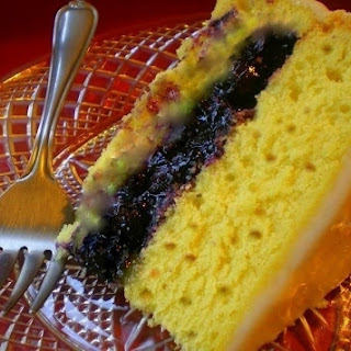 Lemon Pecan Spice Cake filled with Blueberries and Mango.