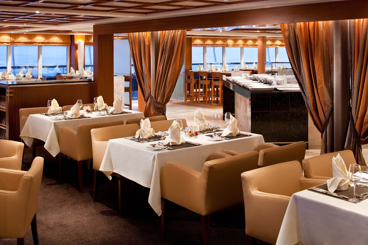 The Colonnade serves regionally themed, bistro-style meals in a casual yet stylish setting aboard Seabourn Sojourn. It's open for breakfast, lunch and dinner.