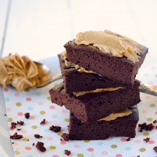 Flourless Chocolate Brownies with Salted Peanut Butter Topping (Gluten Free!).