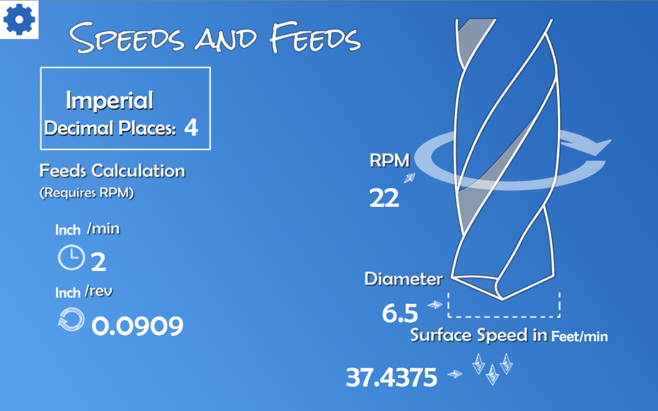 Speeds and Feeds Calculator - screenshot