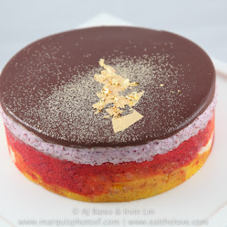 Sweet Cherry Mousse with Ribbon Sponge and Chocolate Ganache, a Daring Baker's Challenge