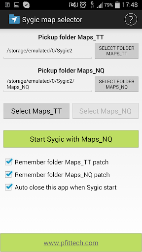 Sygic maps selector