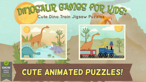 孩子們的恐龍遊戲:幼稚園的可愛恐龍火車拼圖遊戲 - 教育 版