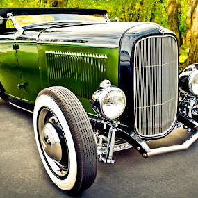 Forest Green Ford by Boyd Smith - Transportation Automobiles ( classic car, trees, ford, hot rod )