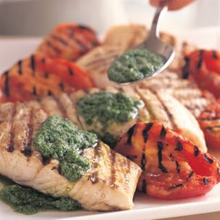 Grilled Halibut with Arugula Pesto.