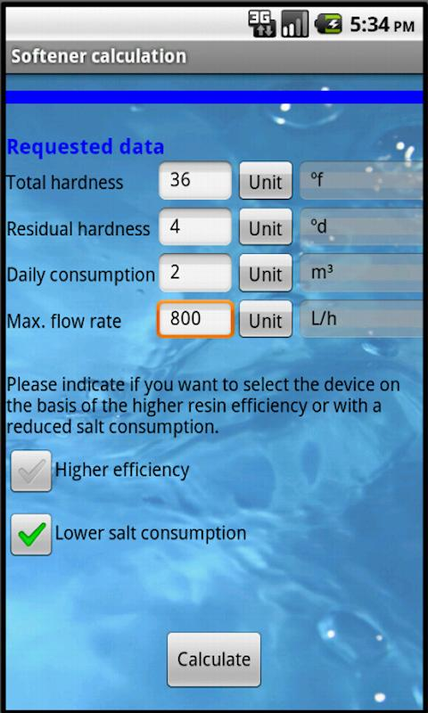 Softener calculation- screenshot