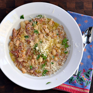 Slow Cooker Farro and Cannellini Bean Soup with Vegetables and Parmesan.