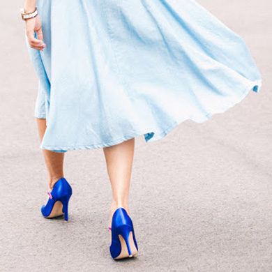 Designing shoes with blue hues