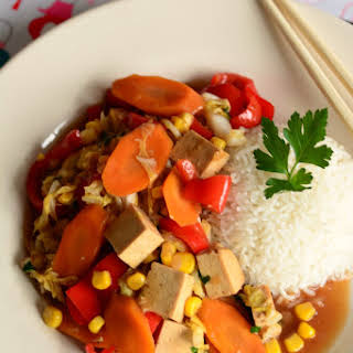 Tofu stir-fry with Chinese cabbage.