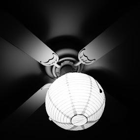 the ceiling lantern by Iggy - Black & White Objects & Still Life ( lantern, ceiling fan, fan )