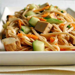 Udon Noodles with Sesame and Tofu.