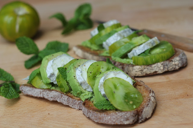 Green Sunday Evening Toast with Green Zebra Tomato Spread Recipe
