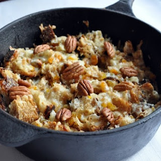 Capirotada (Bread Pudding with Raisins, Apricots, and Cheese)