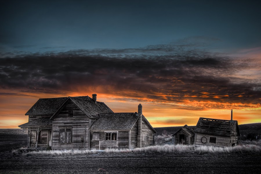 Snow Road by Eric Demattos - Buildings & Architecture Decaying & Abandoned ( feild, sunset, forgotten, decay, abandoned )
