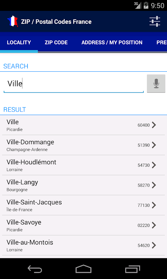 Zip postal codes france android apps on google play for Code postal culoz